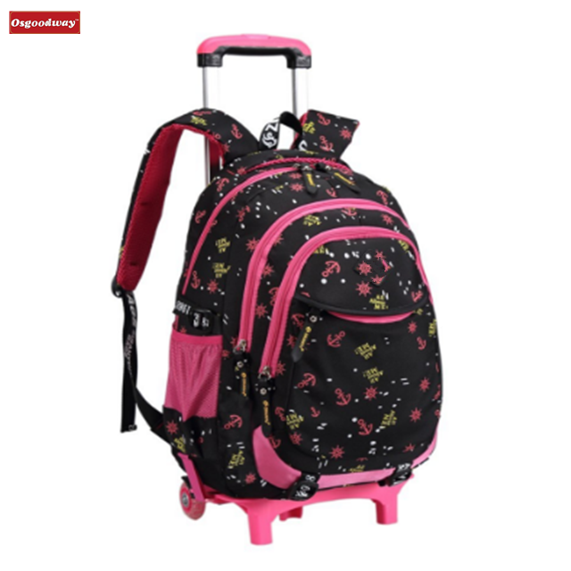Osgoodway Waterproof Nylon Removable Trolley School Bags Backpack With Wheels Trolley Hand Travelling Bags Luggage