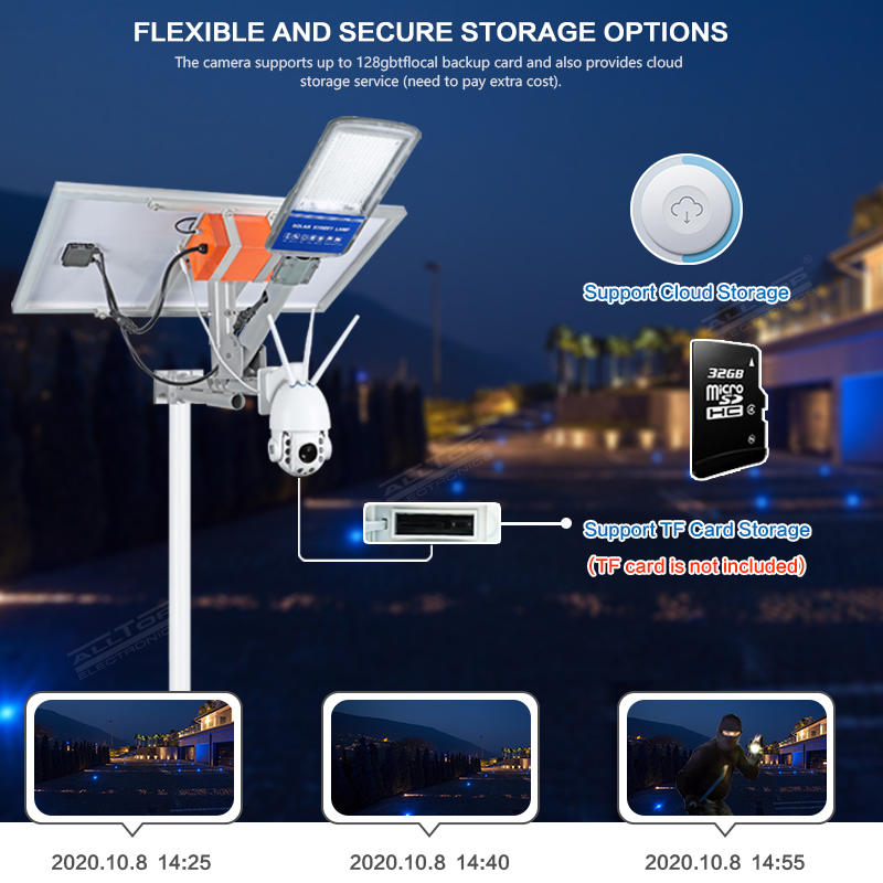 ALLTOP Wireless remote control outdoor solar power supply led street light lamp with cctv ip camera