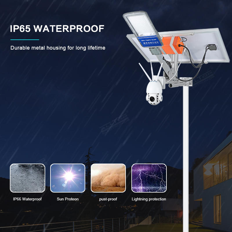 ALLTOP Intelligent cellphone remote control ip65 waterproof smd 80w solar led street light with cctv camera