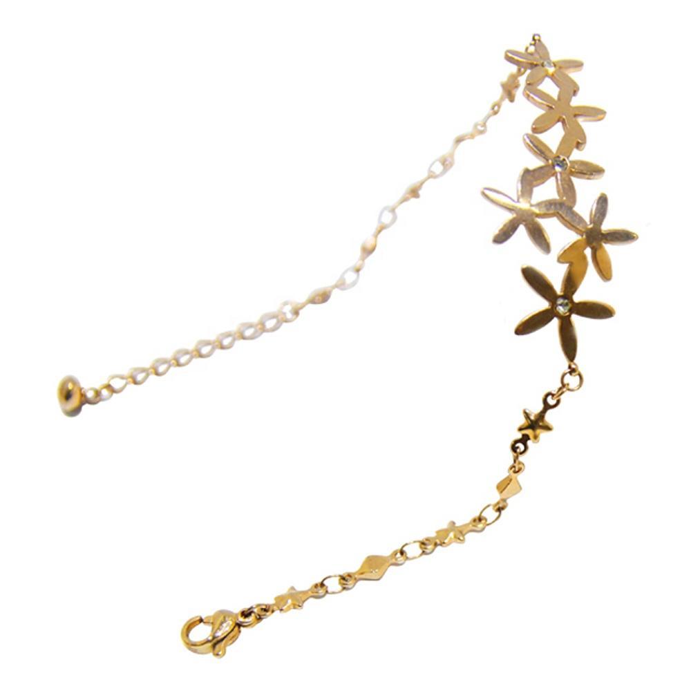 Simple Cheap Cluster Stars Flower Charm Copper Bracelet Stainless Steel