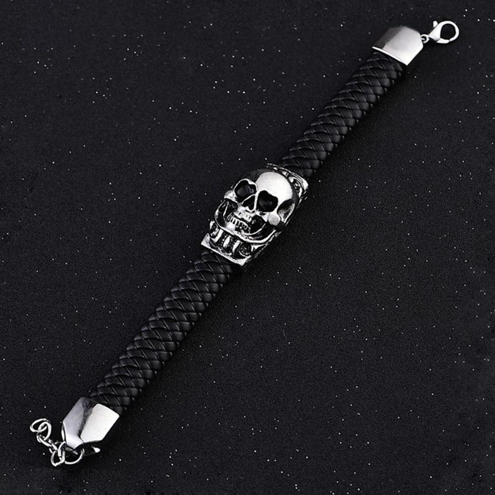 Black Braided Leather Bracelet, Male 2020 Fashion Skull Jewelry