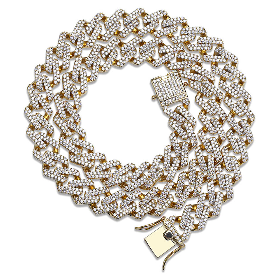 Hip Hop 18K 14K Gold Chain Cuban-Encrusted Zircon Strip Bracelet For Men