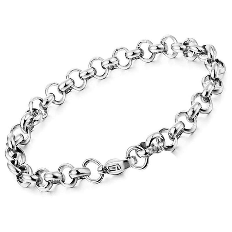 Handmade Simple Stainless Steel Hollow Round Link Chain Bracelet
