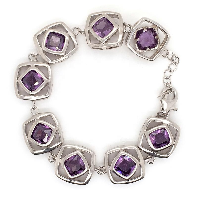 Trendy Geometric Design Link Chain 925 Sterling Silver Bracelet