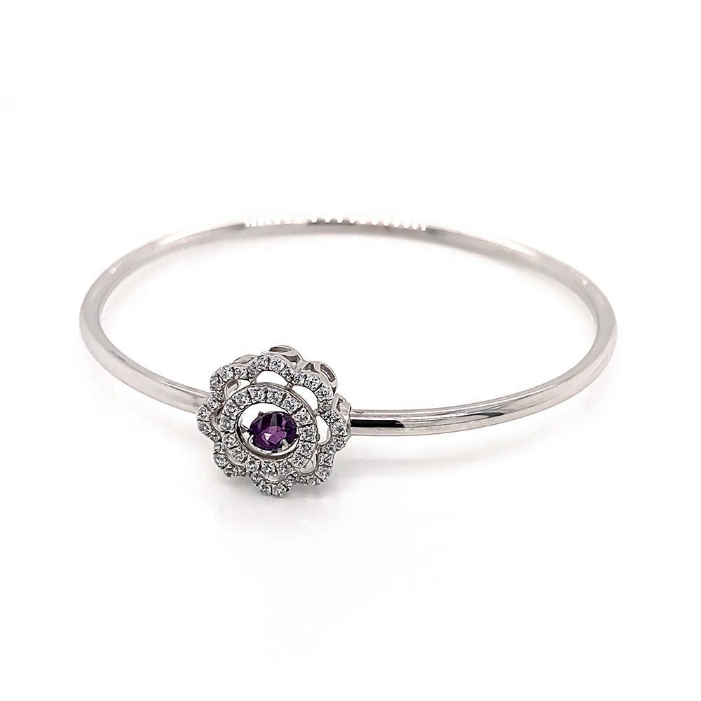 Women Swivel Purple Gem Bracelet, Zircon Flower Design Silver Bangle