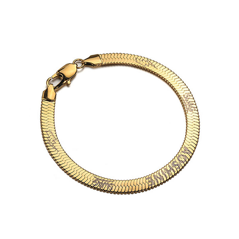 Hip Hop Flat Snake-Bone Man Blade Chain, Retro Solid Stainless Steel Bracelet Gold, Snake-Bone Flat Bracelet 6mm