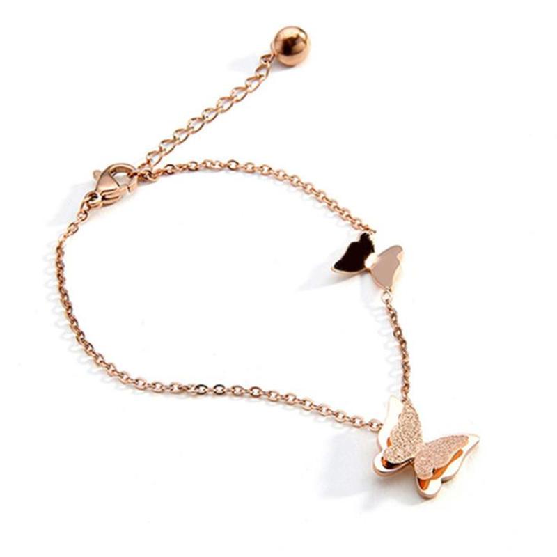 Rose Gold Color Plain Grind Arenaceous Butterfly Design Handcuff Bracelet Bangles