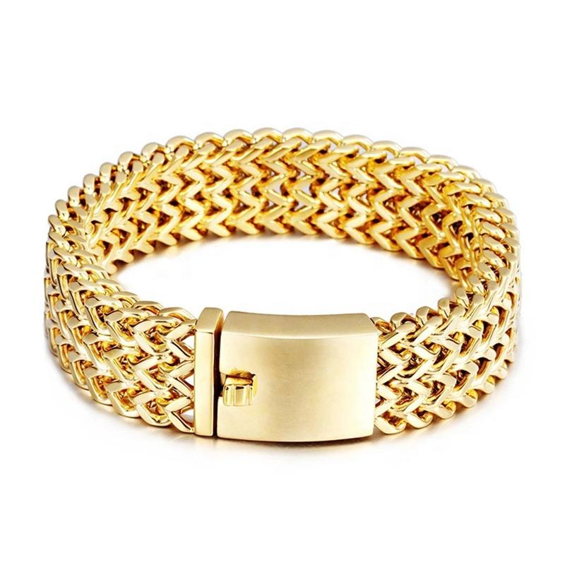 New Stainless Steel Braided Bracelet With 18K Gold Plating, Stainless Steel Jewelry For Men