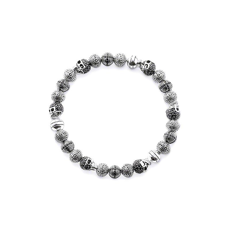 Fashion skull engraved onyx beads men's bracelets