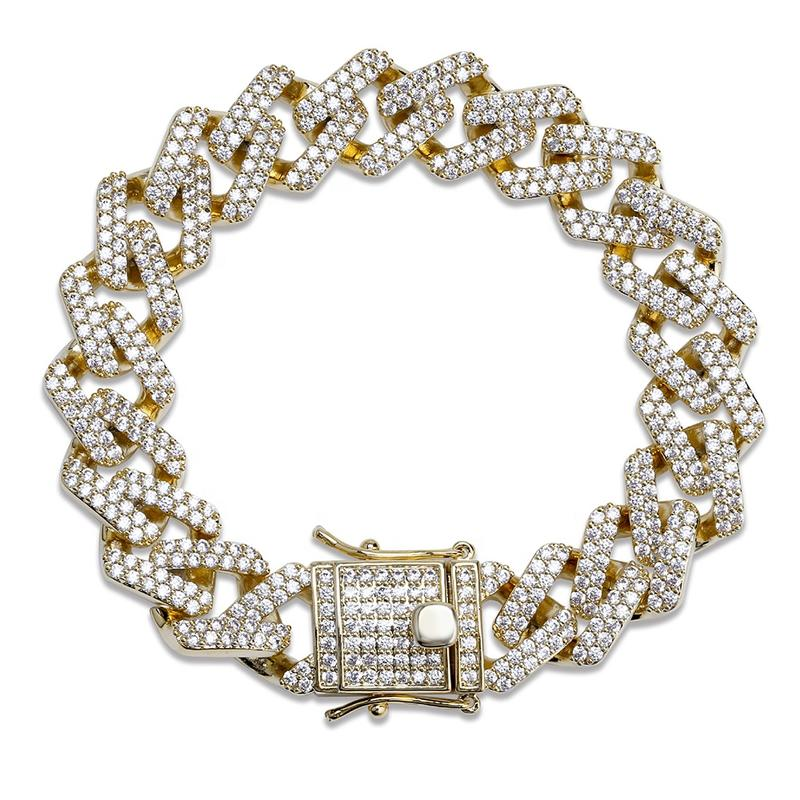 Hip Hop Jewelry 18K Gold Plating Cuban Chain Zircon Bracelet For Men