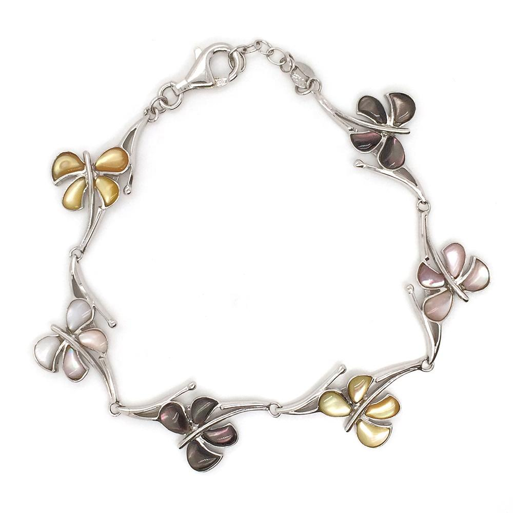 Esthetical Butterfly Flower 925 Sterling Silver Bracelet Made In Italy