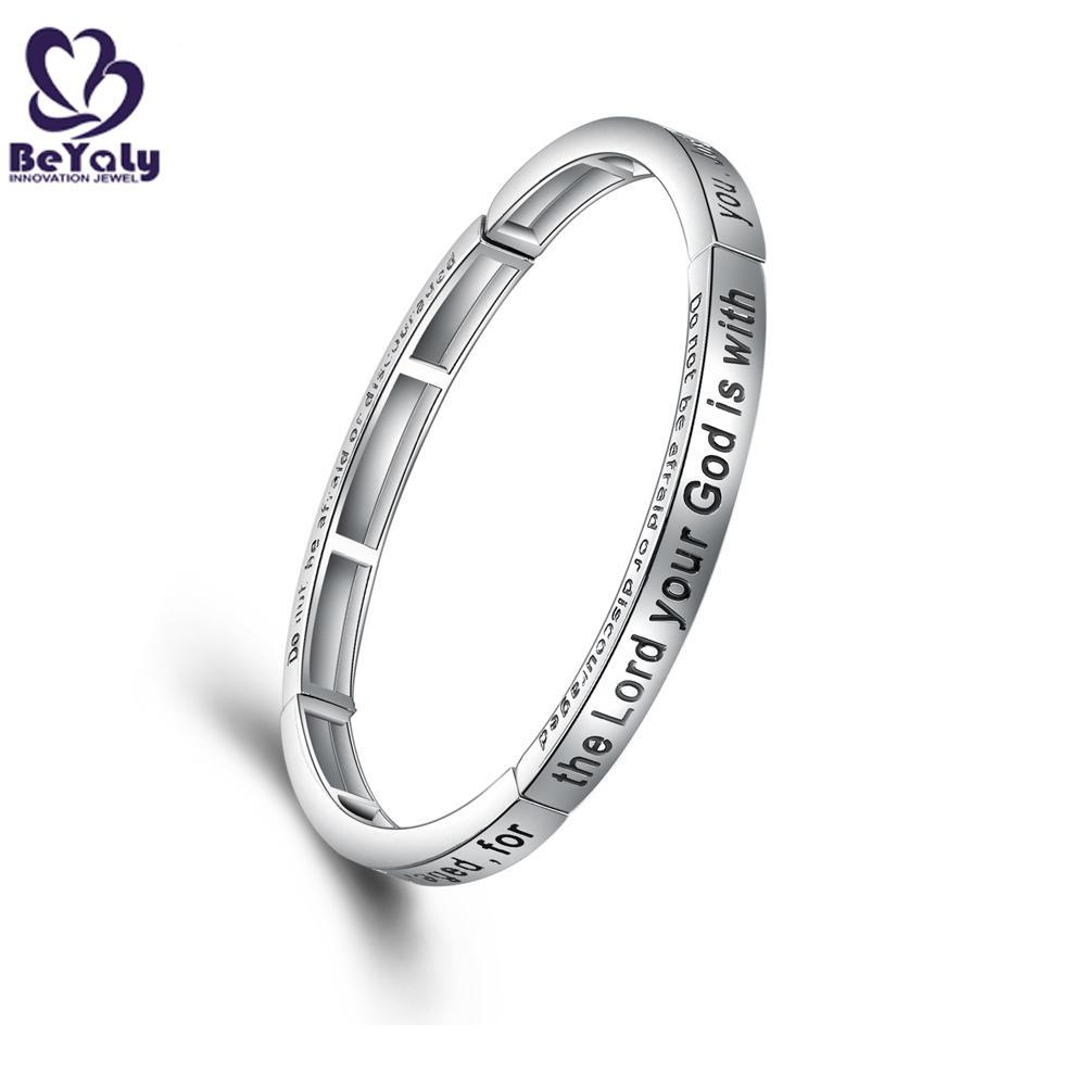 Good Quality Stainless Steel Engraved Black Letter Bracelet