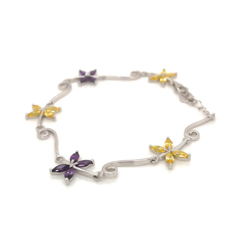 Yellow And Purple Zircon Two-Color Silver Butterfly Bracelet Women