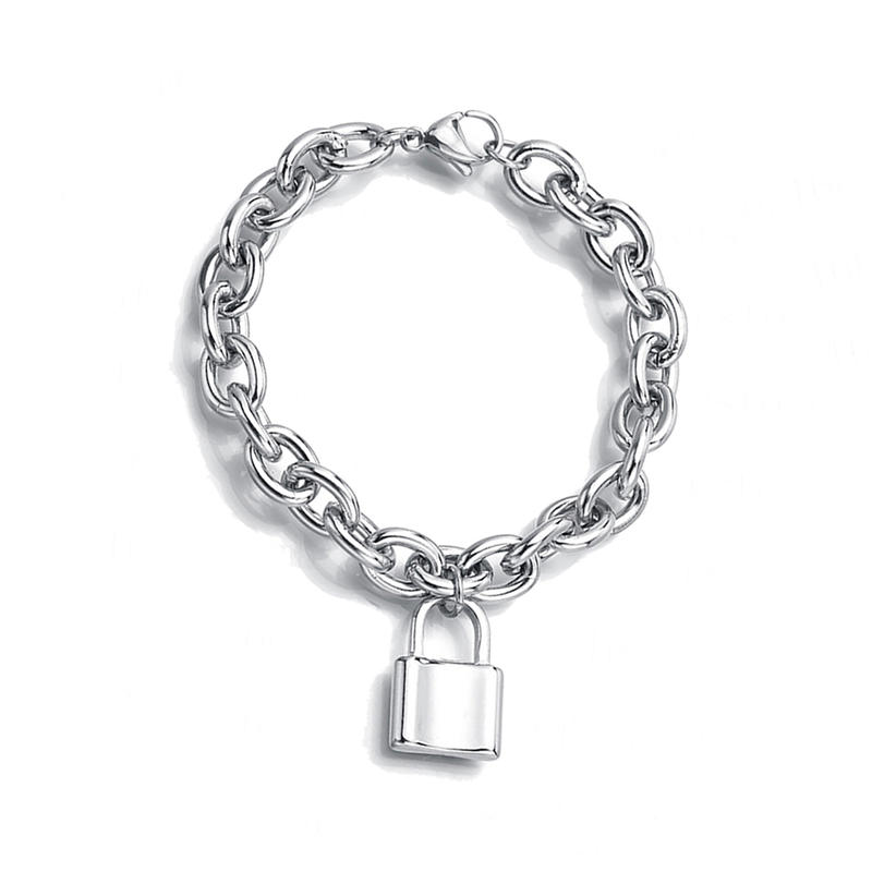 Thick Chain Stainless Steel Personalized Lock Bracelet, Ins Cool Style Men And Women Couples Accessories E-Commerce Sales