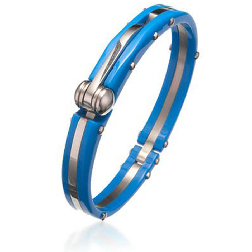 Blue painting cheap stainless steel nail bracelet bangle