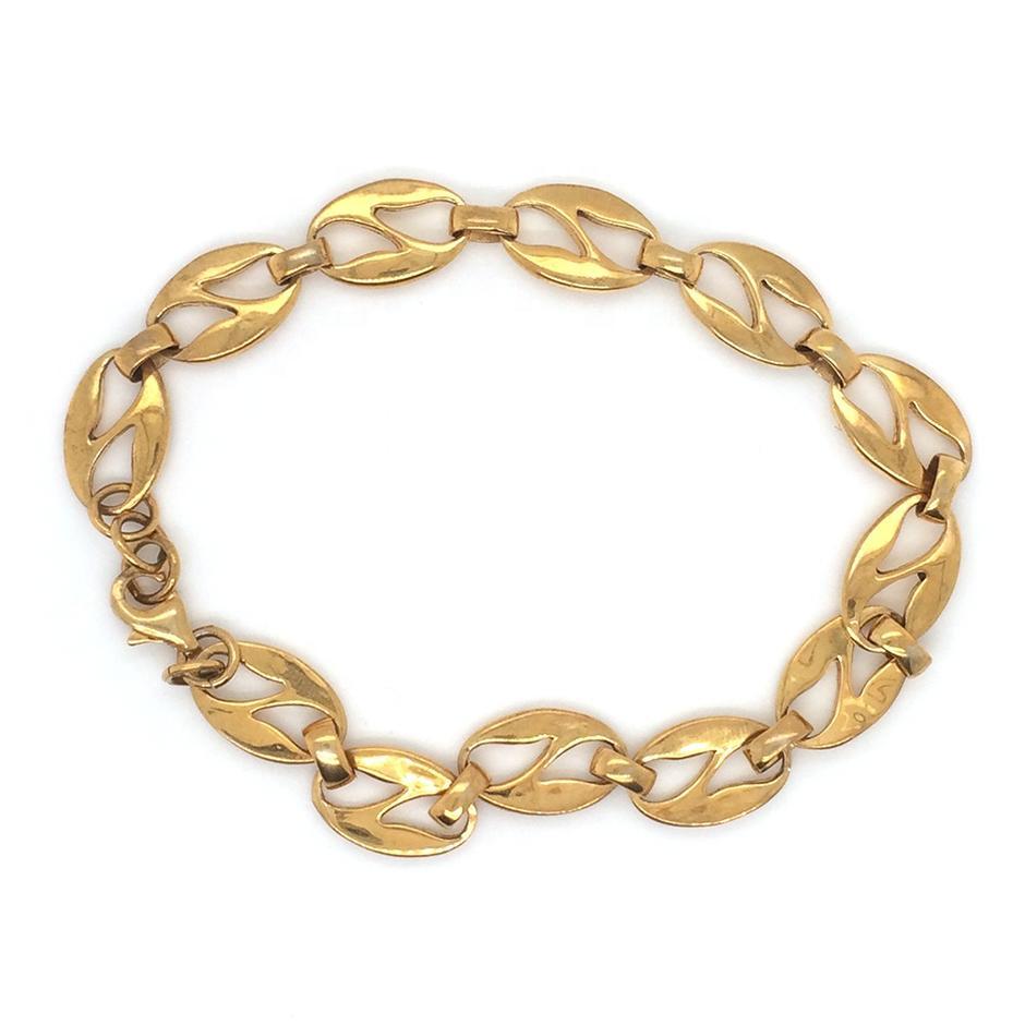 Latin Alphabet Letter Design Clasp Bracelet Gold Plated Jewelry