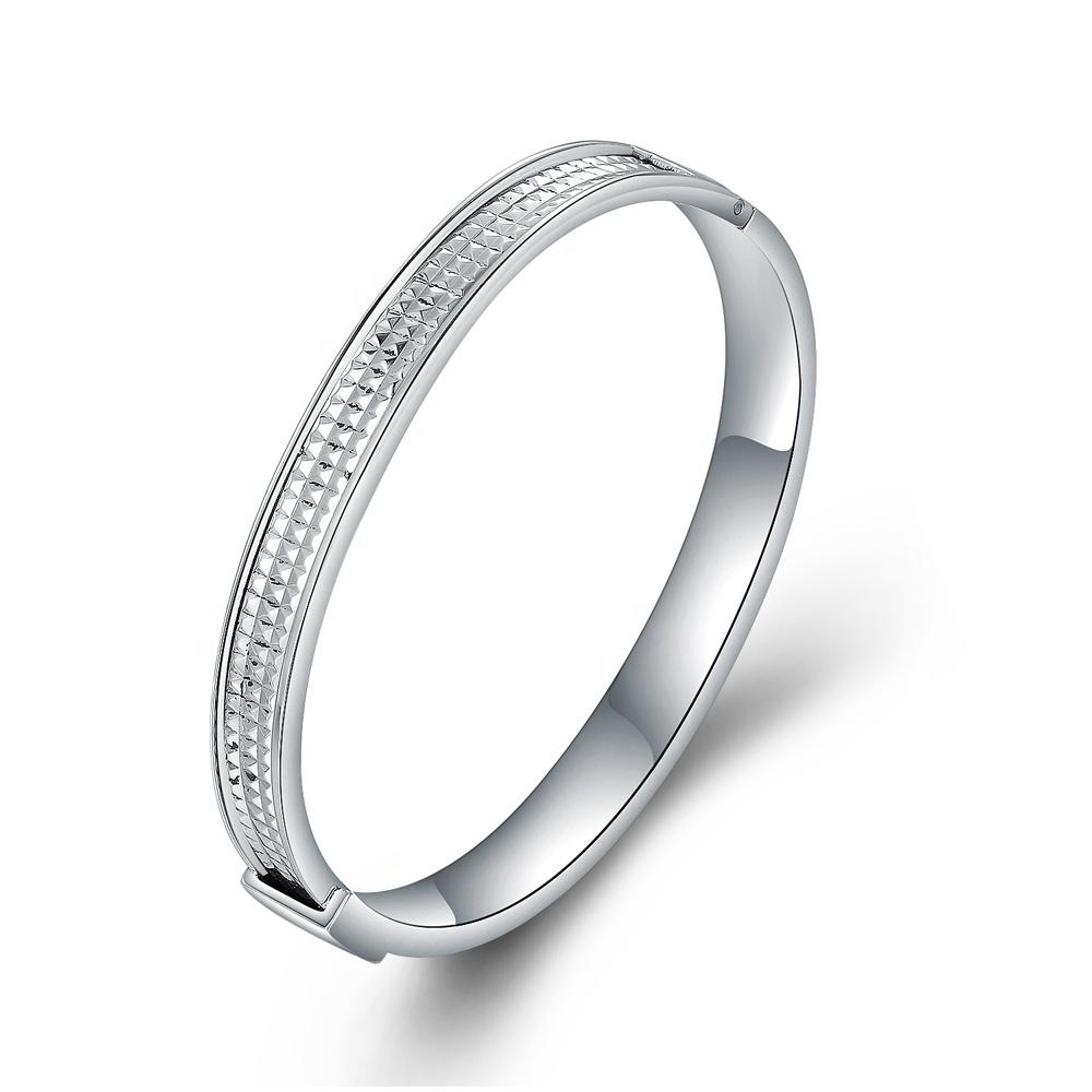 Wholesale Simple Stainless Steel Frosted And Faceted Bracelet Men