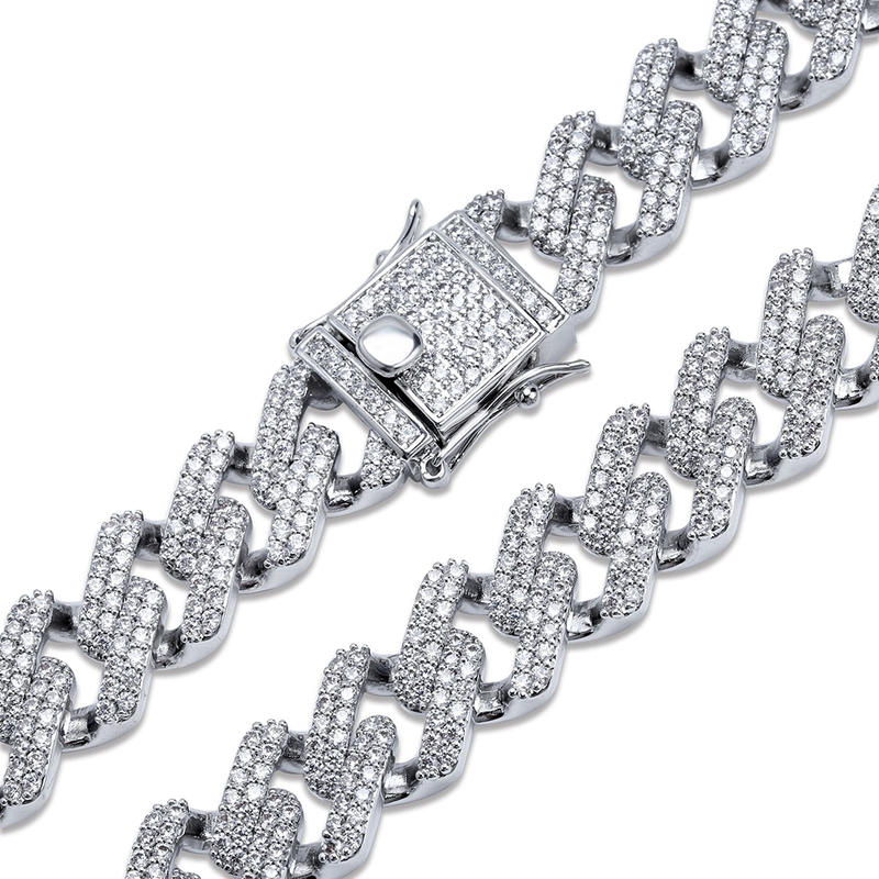 Gold Plating Cuban Chain Zircon Hip Hop Bracelet Jewelry For Men