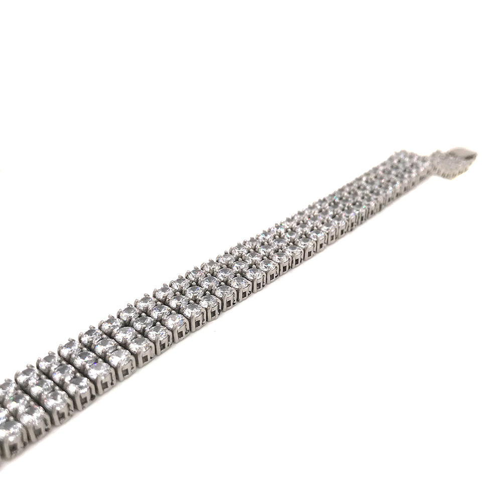Hiphop Style Men's Stainless Steel Bracelet With Three Rows Of 3A Zircon