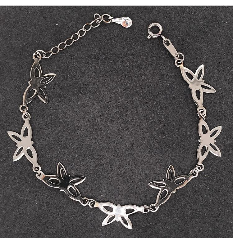 Fashion Silver Cz Butterfly Charm Bracelet