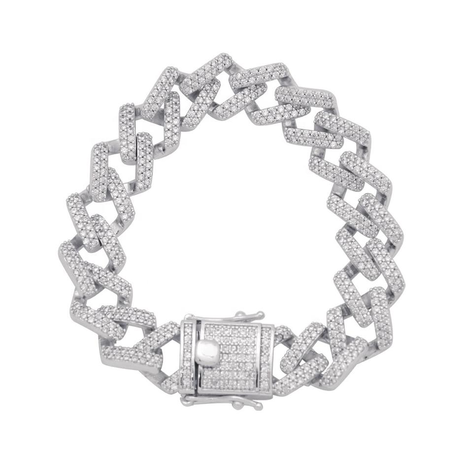 Hip Hop Couple's Full Pave Setting Zircon Flat Chain Bracelet