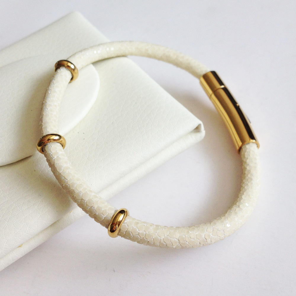 Multi Colored Leather Stingray Gold Plated Bracelet, Leather Stingray Bracelet Jewelry