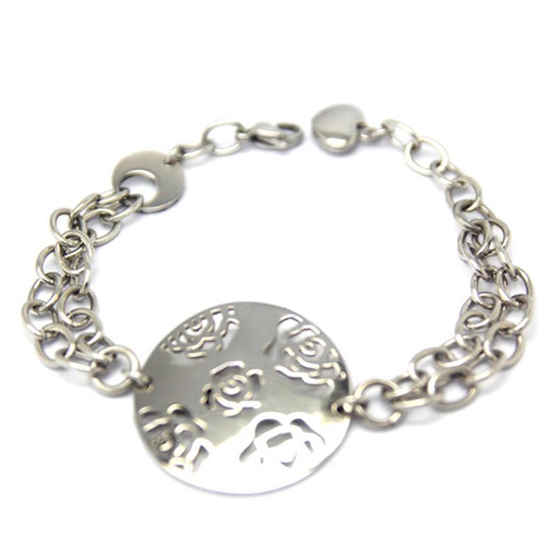 Round Steel Color Fashion Imitation Jewelry Guangzhou Rose Flower Design Bracelet