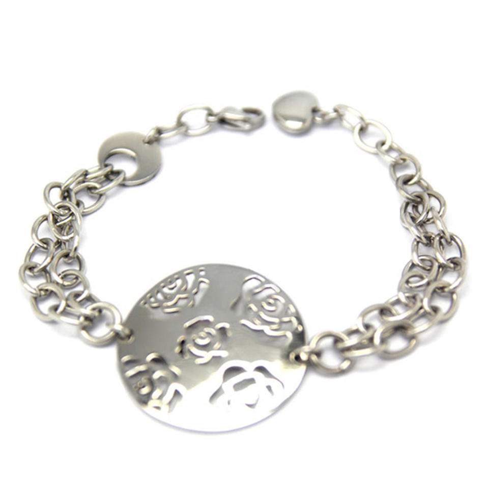 Round Steel Color Fashion Imitation Jewelry Guangzhou Rose Flower Design Bracelet