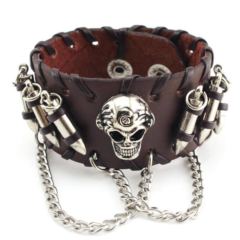 Halloween Skull Bracelet, Personalized Rope Bullet Alloy Bracelet