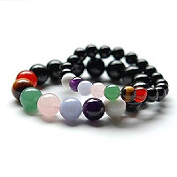 Black beads cheap mens chakra bracelets