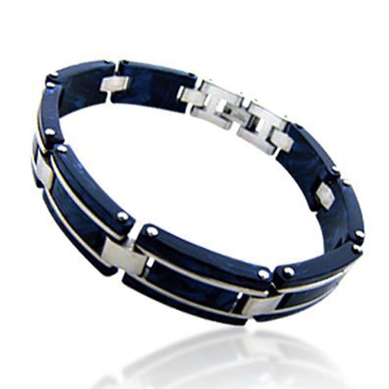 Deep blue tone men innovation buckle indian bangle set