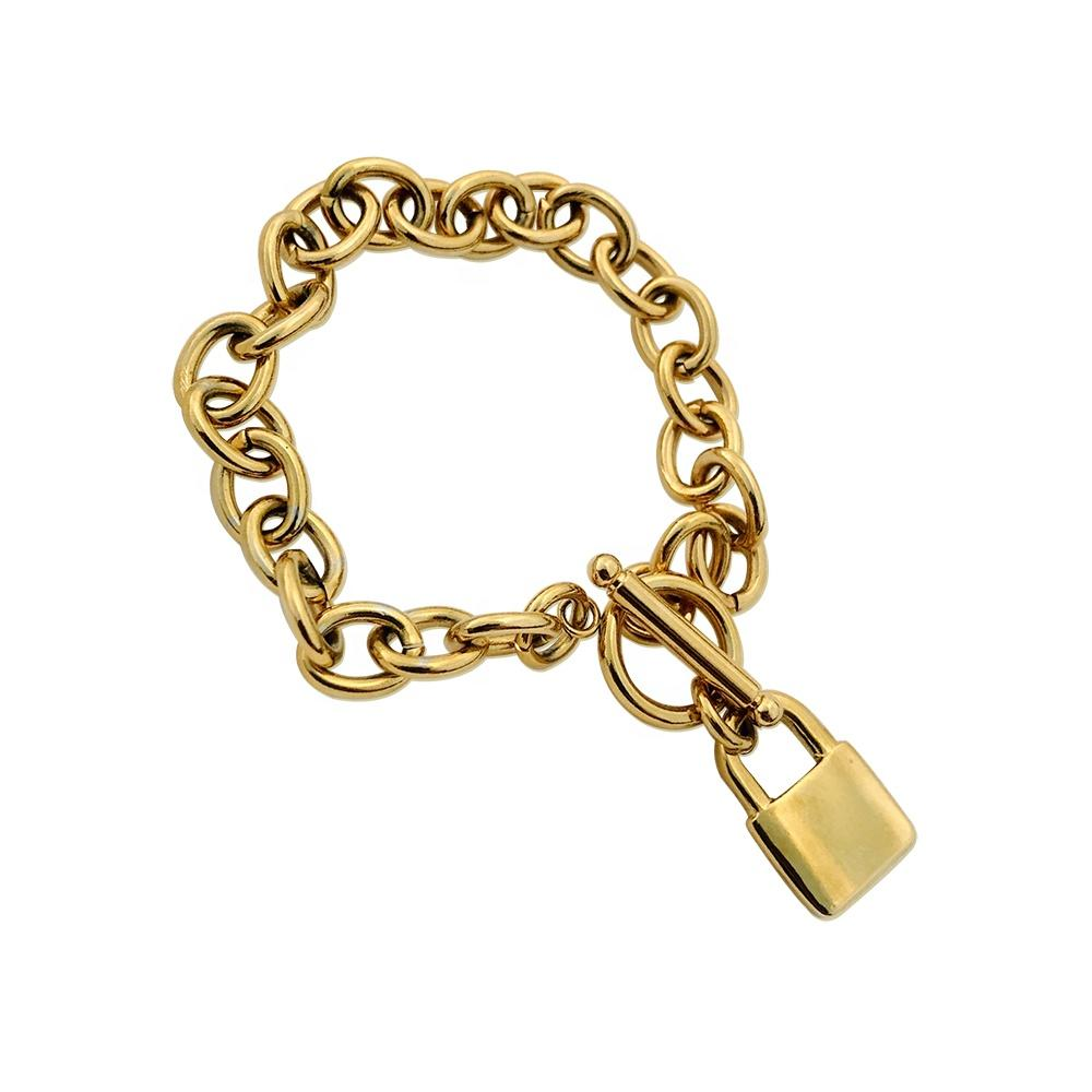 European And American Fashion Street Jewelry, Stainless Steel Lock OT Chain Gold Plated Bracelet