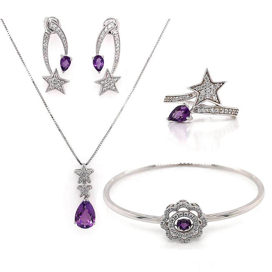Star Purple Stone Wedding Necklace And Bracelet And Earring And Ring Set