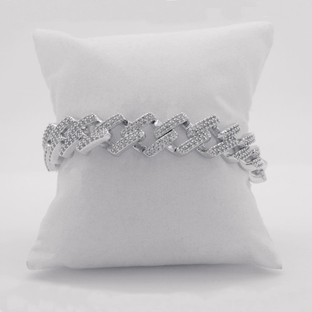 Hip Hop Couple's Full Pave Setting Zircon Flat Chain Bracelet