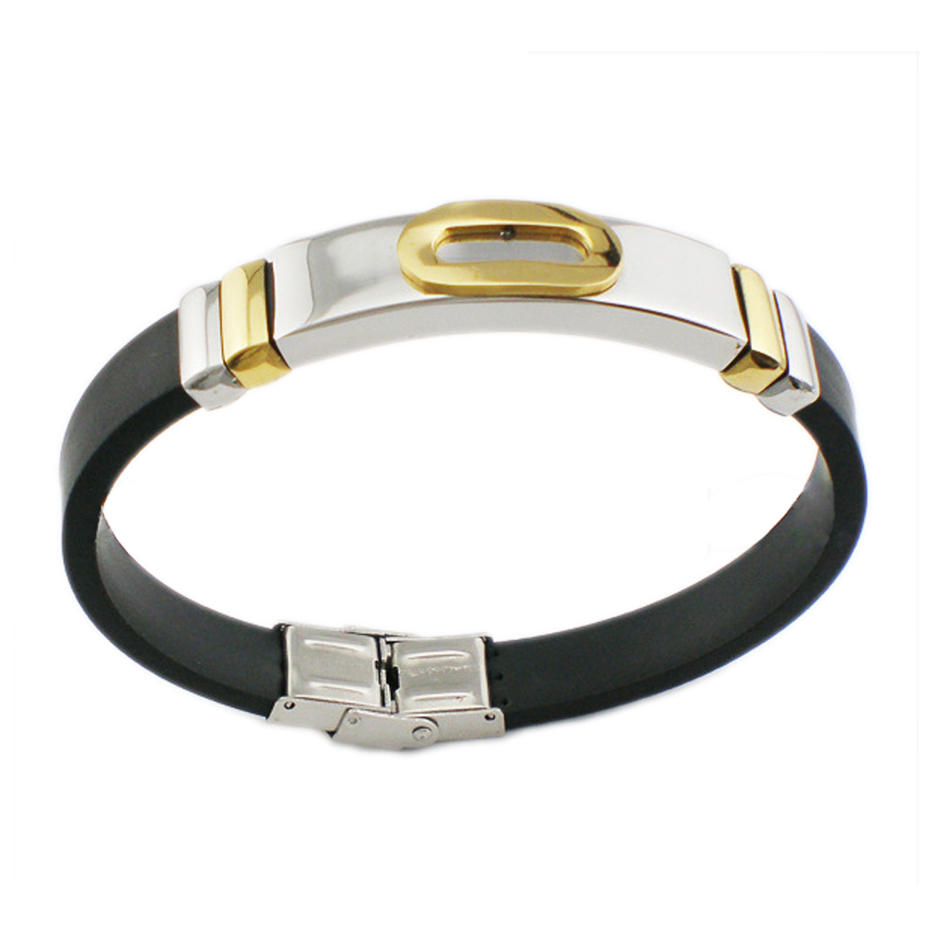 Black rubber shiny wholesale copper magnetic bracelets