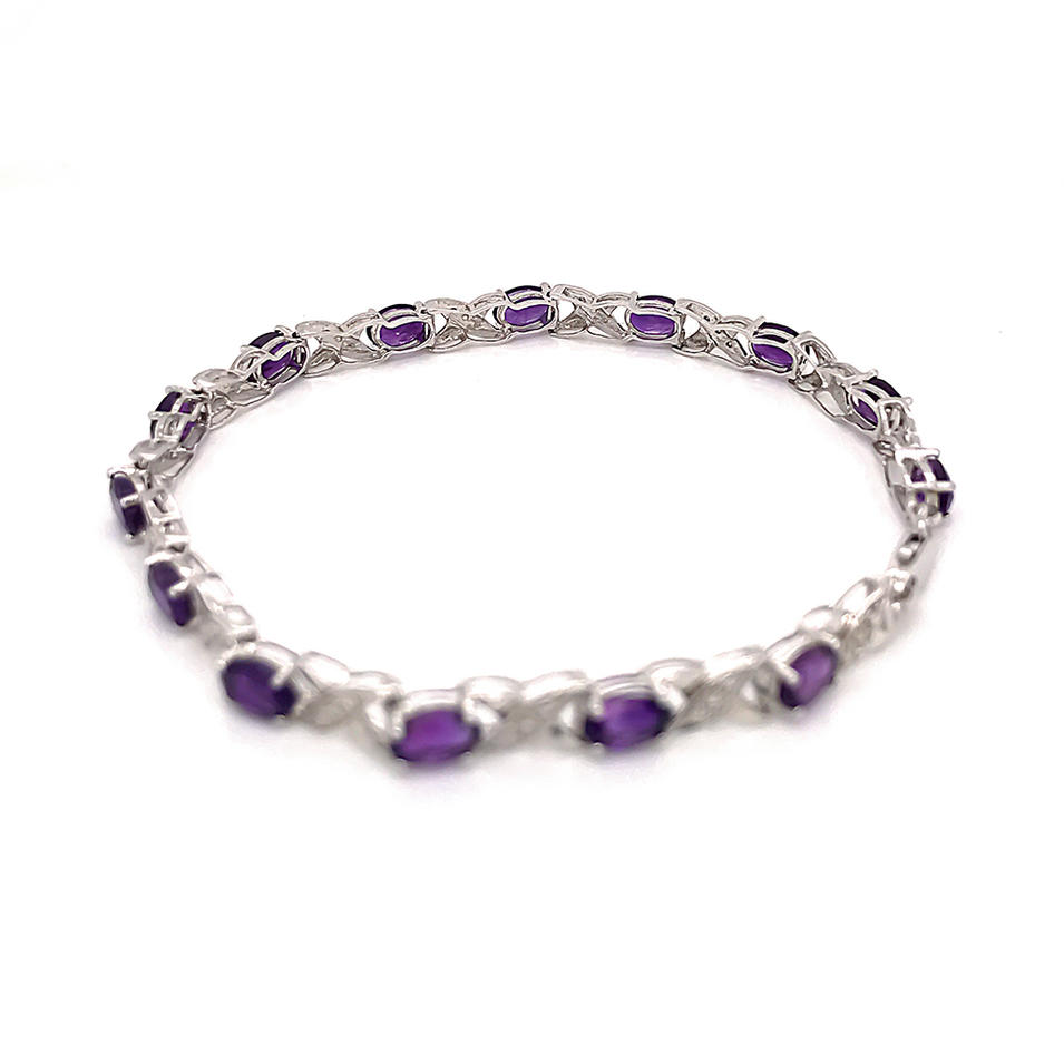 Purple Gem Chain Bracelet For Women, X Letter Silver Bracelet