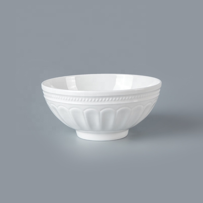 White Bone China Hotel RestaurantTableware Rice Soup Noodle Bowl, Restaurant Hotel Supplies Ceramic Salad Bowl*