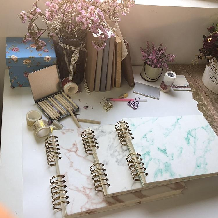 Marble Pu Cover Spiral Binding Scrapbook Photo Album with White Pages for Pictures