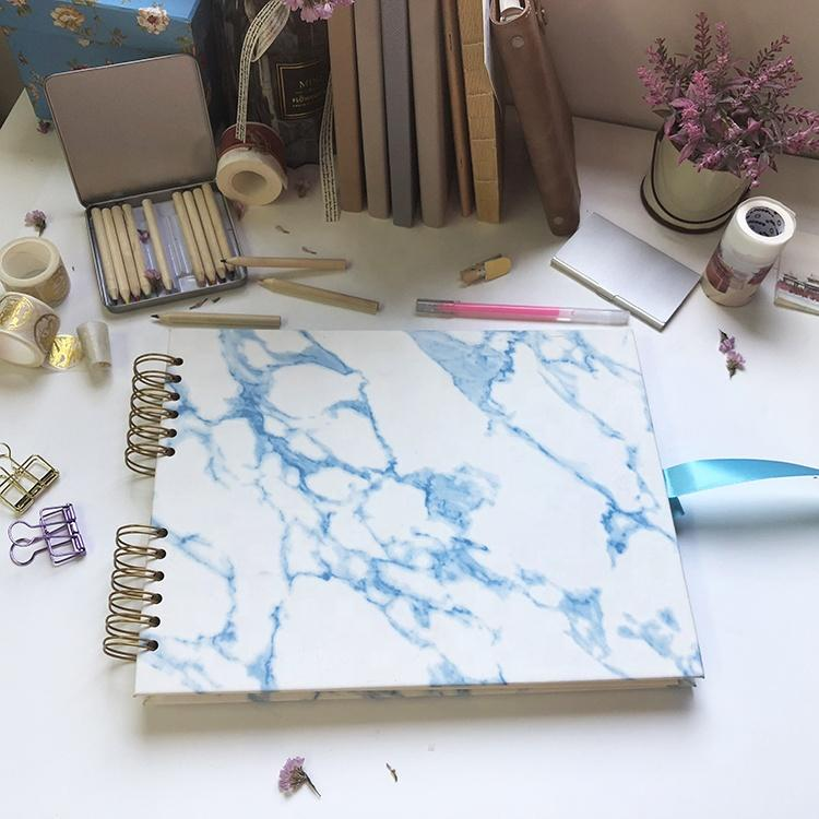 product-20 White Paper Pages Marble PU Leather Cover Scrapbook Album for Photo-Dezheng-img-2