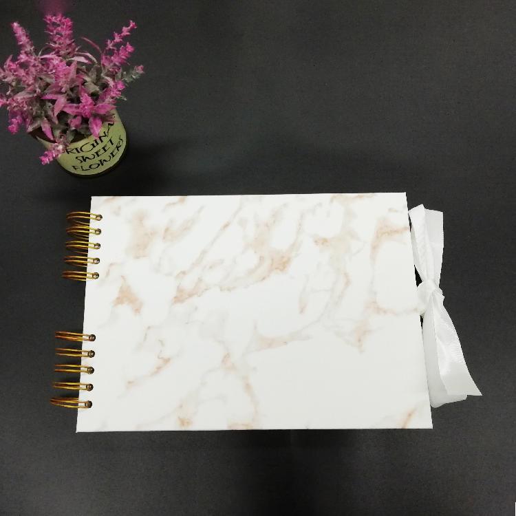 Guangzhou Factory Pu leather Hardcover DIY Scrapbook Album 12x12 With Ribbon Closure