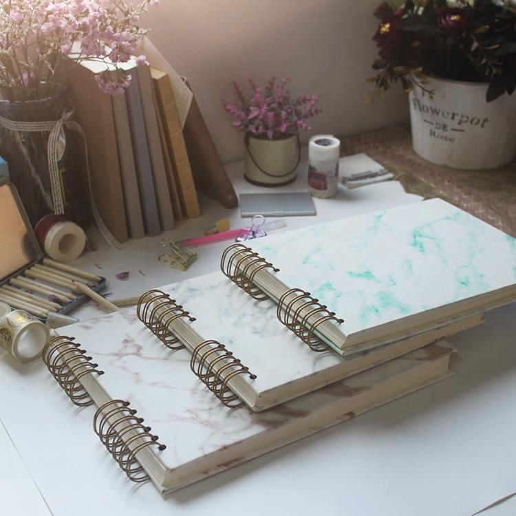 20 White Paper Pages Marble PU Leather Cover Scrapbook Album for Photo