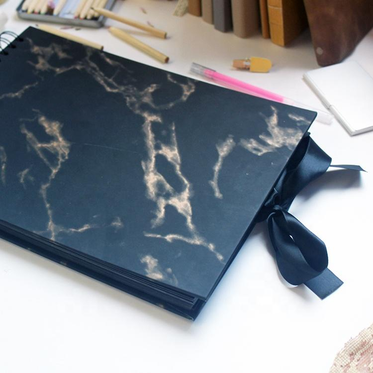Luxurious 120 Pictures Craft DIY Black Cardstock Paper Photo Album Kit with Pu Marble Cover