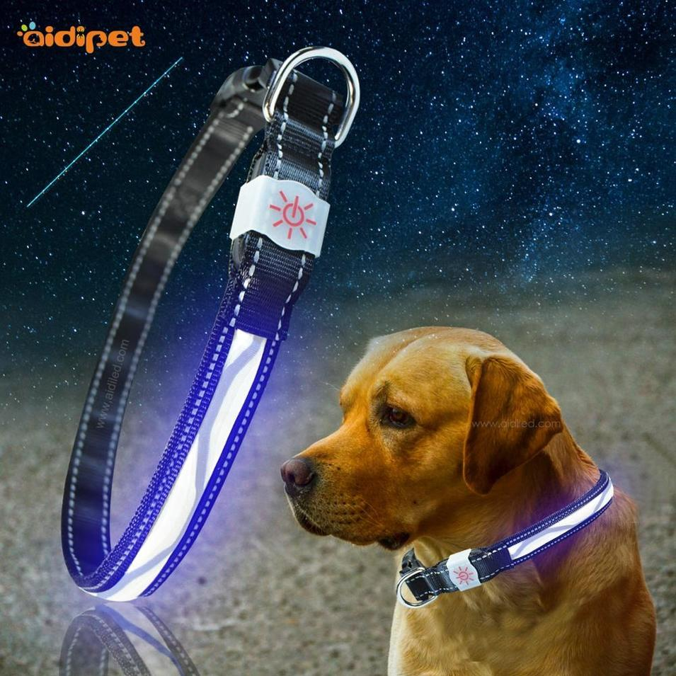 2020 New Pet Supply Luxury Nylon Led Dog Collar Wave Pattern Flashing USB Rechargeable Battery Pet Collar with Led Light