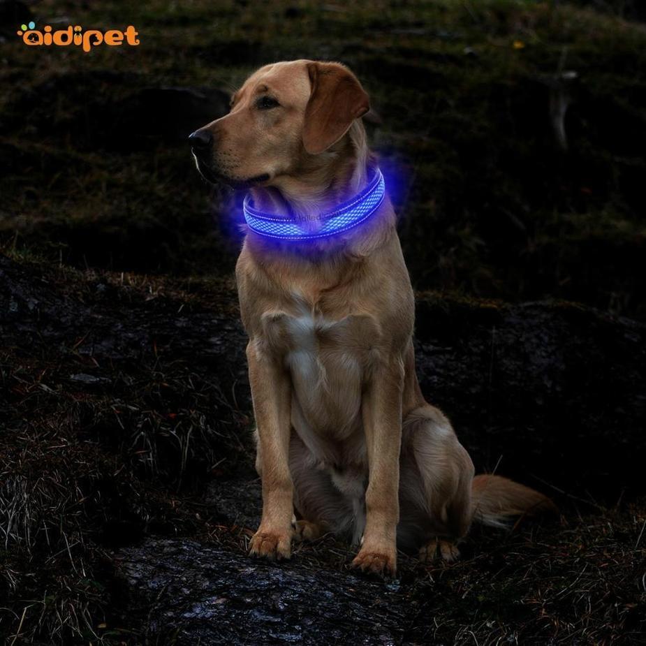 Amazon Hot Sell Led Dog Collar USB Rechargeable Safety Collar Leash Set Soft Mesh Bungee Handle Custom Logo Led Dog Collar