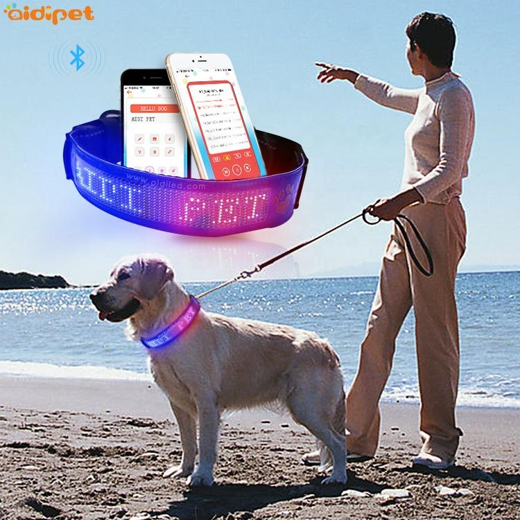 Anti-lost Led Dog Collar with 450mAh Rechargeable Battery GPS Led Screen Text Pet Collar Exporter of Luminous Dog Collar