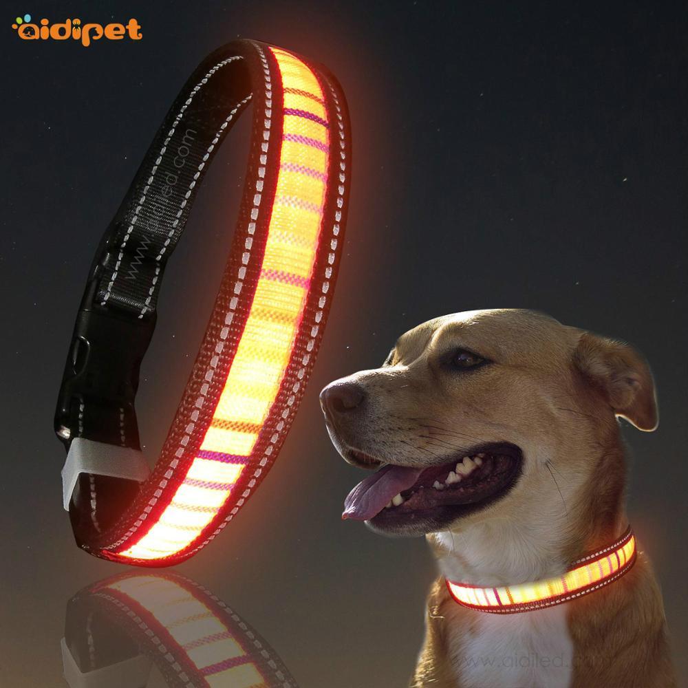 WaterproofNylon webbingfiber flashing Dog Collar with led light