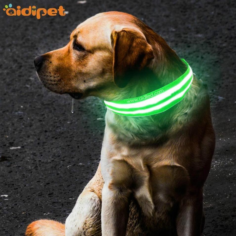 Classic Fual Optical Fibers Flashing Dog Collar Light Led Dog Collar for Pet Night Safety Custom Logo Top Sell Led Dog Collar
