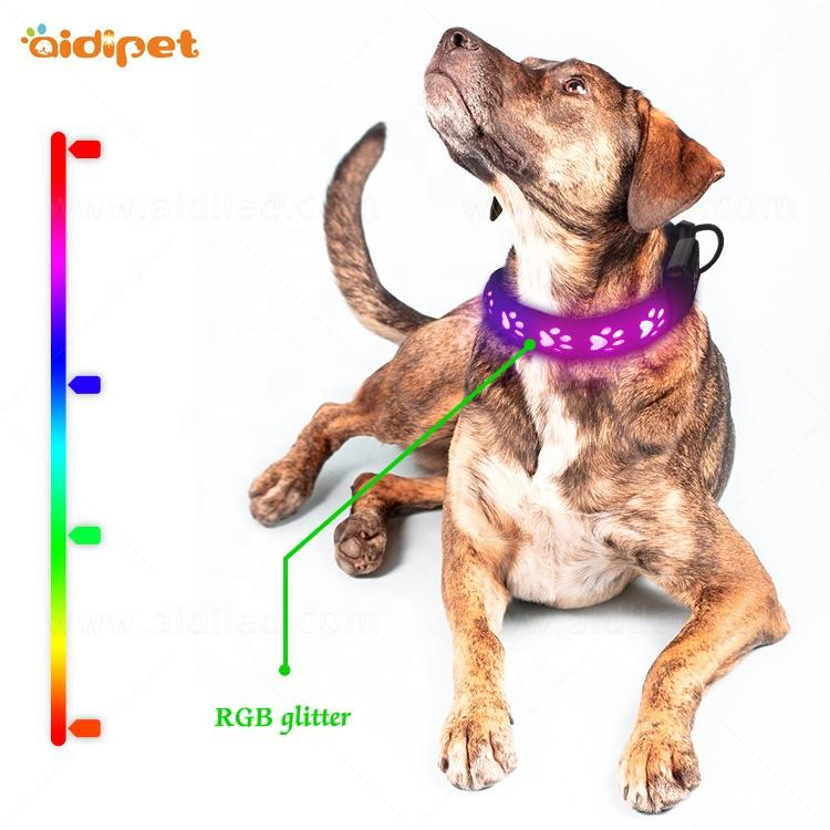Pretty Design Led RGB Multicolor Pet Collar PU Leather with Hollow PrintingCollars Led pet Dog Necklace Colorful Light