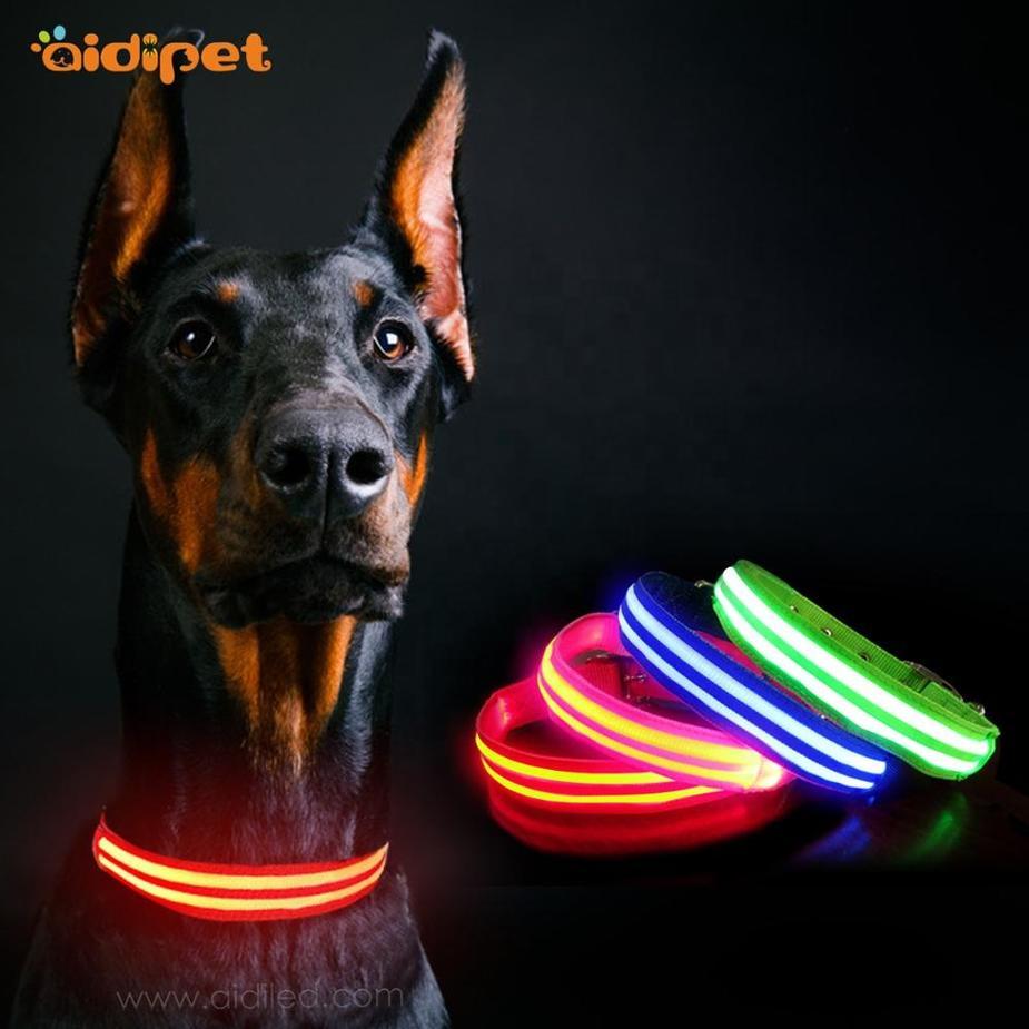 Metal Pin Buckle Led Dog Collar USB Rechargeable Flashing Dog Collar Light Match with Dog Harness HIgh Quality Led Pet Collar