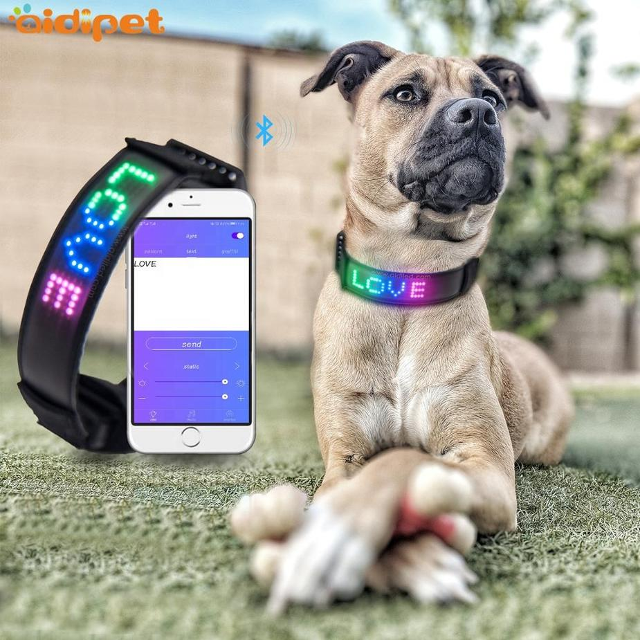 Newest APP Bluetooth Connect LED Dog Collar with Screen